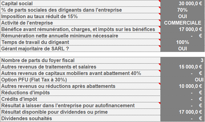 Paramètres Optimisation Rémunération Dirigeant